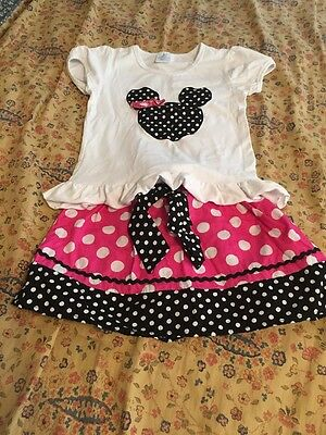 Minnie Mouse Skirt Outfit Black Pink Short Sleeve Appliqué 2-3 Toddler Girl