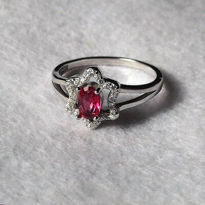 Bague Rubis Rose et Topazes Blanches, Argent 925,  Forme Etoile,  Taille 58
