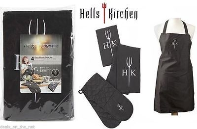 Hell's Kitchen Hells Textile BBQ Apron and Double oven glove, 2 tea towel  set