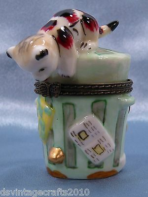Cat #8 Cat On A Trash Can Porcelain Trinket Box Hand Painted