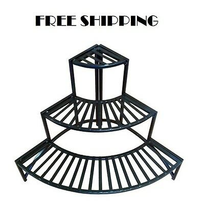 Corner Plant Stand 3 Tier Shelves Indoor Outdoor Garden Rack Iron Metal Folding