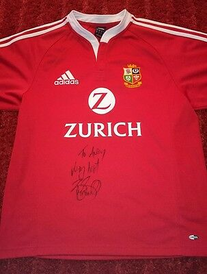 "Brian O'driscoll signed lions rugby shirt ""To Andy"" dedicated / COA / proof"