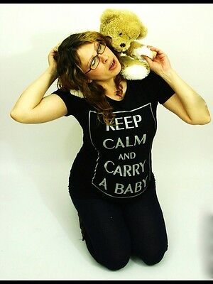 maternity top tshirt size 14/16 brand new black Keep Calm And Carry A Baby