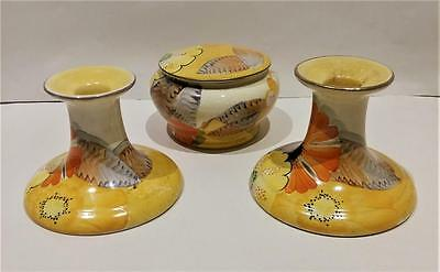Rare Grays Pottery (Susie Copper Design) Candlesticks And Lidded Dish
