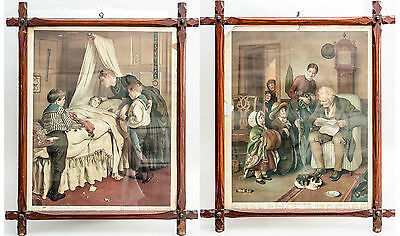 Pair of Original Framed Victorian  Prints Schoolfellows and Unexpected Visitors