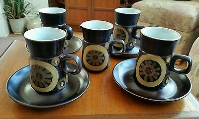 Denby Arabesque Set Of 4 Coffee Cups And Saucers With  A Milk /cream
