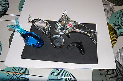 Selection of Murano Glass Dolphins & Whales