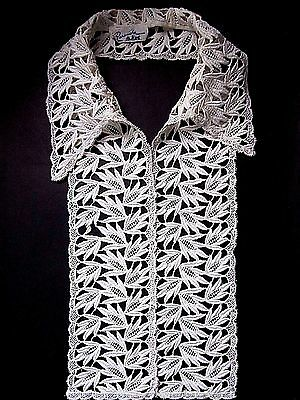 Vintage Floral Lace Collar Dickie Ivory Color Cotton Barouche Original