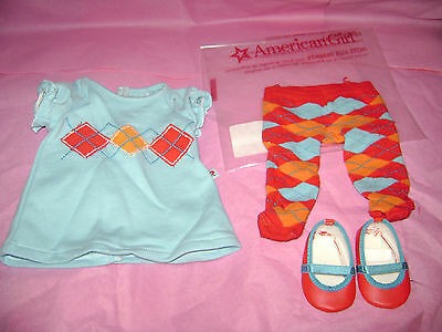 NEW American Girl Bitty Baby Twins Dolls Aqua Argyle Dress Shoes Tights Outfit