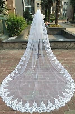 1 Layer Cathedral Wedding Veil Lace Bridal Veil Accessori Sposa Veli