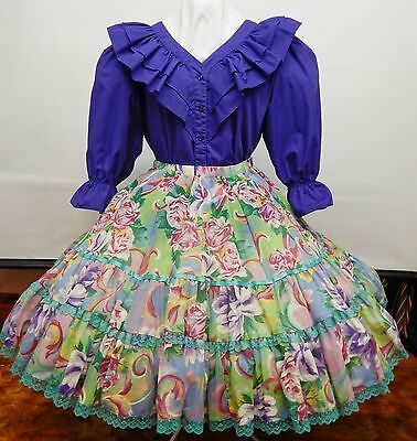2 Piece Purple And Print Square Dance Outfit