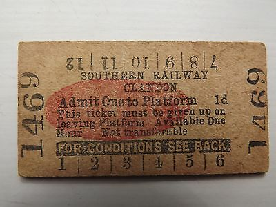 Platform Ticket Clandon (Southern Railway) red oval no 1469