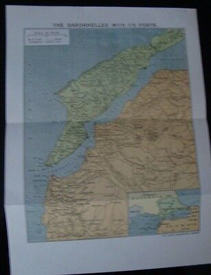 WW1 Map The Dardanelles With Its Forts