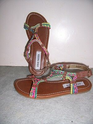 4b19c0f33fd NEW STEVE MADDEN Girl's 3 Whisley Cognac Multicolor Woven Strappy Sandals
