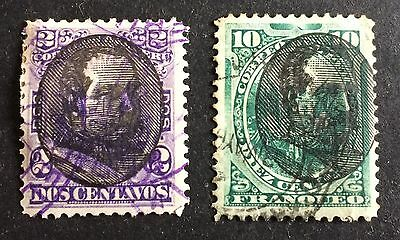 2 very old used stamps Peru with black overprint