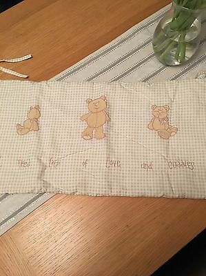 Cot Bumper Surround ONLY Natural Unisex Bear With Ties From Next