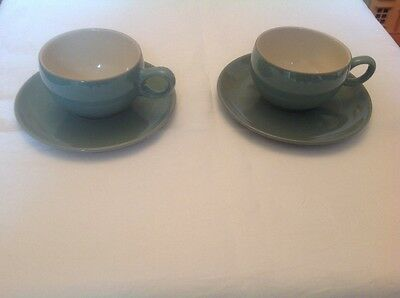 Denby Manor Green cup and saucer x 2