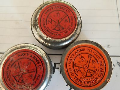VINTAGE NAVY ARMS CO. PERCUSSION  CAPS TIN NO.1x1075germany 2x002england PARTLY