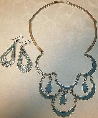 Vintage Alpaca Mexico Stamped Turquoise Necklace And Earrings Set