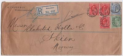 GB: 1911 Edward VII Examples on Registered Cover to Norway - Wax Seals (6592)