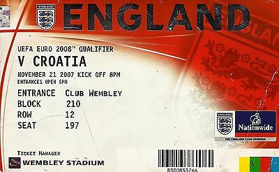 Ticket : England v Croatia - Euro 2008 Qualifier - 21 November 2007