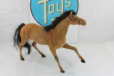Vintage Flocked Brown Horse