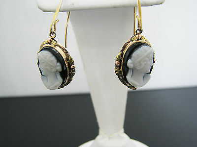 Vintage Black Hills Gold in 14K Cameo Earrings with French Hooks