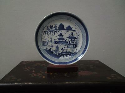 Antique 19th century Chinese Canton provincial underglaze blue & white plate