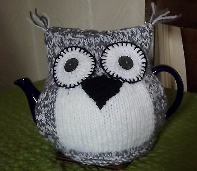 Handknitted Grey & White Owl Tea Cosy New