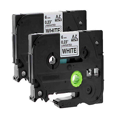 2PK Black on White Label Tape TZ TZe-211 For Brother P-touch PT-2030/2730 6mm*8m