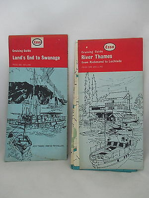 TWO 1960s ESSO CRUISING GUIDES. RIVER THAMES & LANDS END-SWANAGE