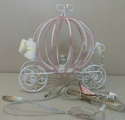 NEW Pottery Barn Kids Pink PRINCESS BEADED CARRIAGE Table Lamp