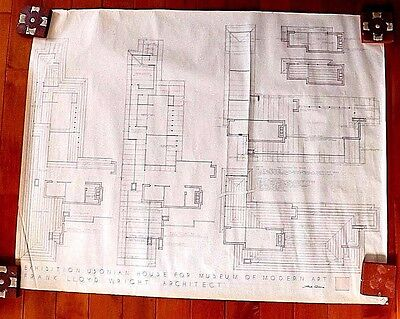Frank Lloyd Wright Original Drawing  Usonian House For Museum Of Modern Art  P 1