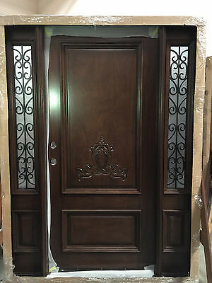 Wood Iron Door Pre-hung &Finished TMH2103-5 Frosted Glass/Handcraft