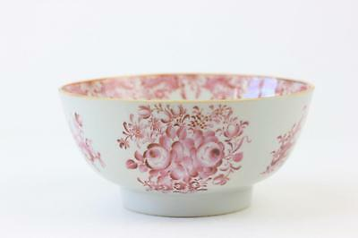 Antique Chinese Porcelain Famille Rose Bowl With Puce / Pink Handpainted Flowers