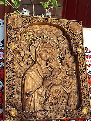 Virgin Mary of Perpetual Help WOOD CARVED CHRISTIAN ICON RELIGIOUS WALL HANGING
