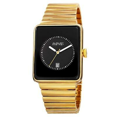 August Steiner AS8181YGB Date Rectangular Case Black Dial Goldtone Mens Watch