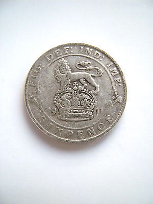 1911 George V Sixpence, 0.925 Silver