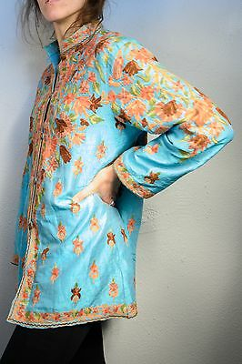 Vintage Turquoise Floral Embroidered / Stitched Jacket