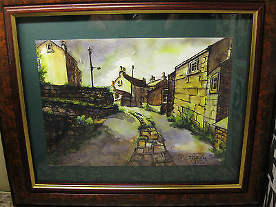"""A """"holmfirth 2014"""" Framed Signed Print From Original Painting By """"garry Miller""""."""