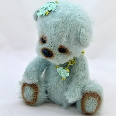 Artist crochet gray-blue teddy bear girl with beautiful accessories, 8 ¼ in.