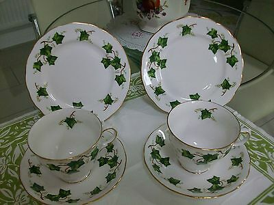 Colclough Ivy Leaf Tea Plates Cups And Saucers X 2