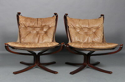 VINTAGE RETRO SIGURD RESSELL LOW BACK FALCON CHAIR SET 1 of 2 1970s