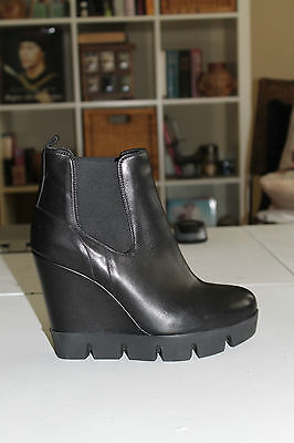 Browns B2 Black Leather Platforms Wedges Ankle Boots Heels Size 38 Italy