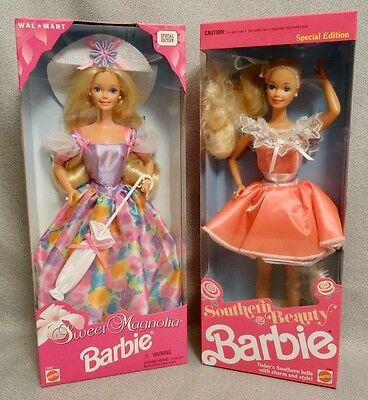 LOT of 2 NEW 1990s BARBIES - SOUTHERN BEAUTY & SWEET MAGNOLIA - SEALED BOXES