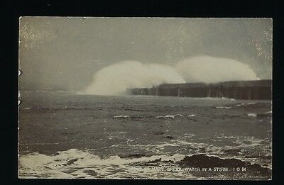 Isle of Man. Port St. Mary Breakwater Storm REAL PHOTO by Swales. c.1910