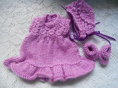 "Doll Clothes violet Hand-knitted dress set fit Heidi Ott 8"" Berenguer Lots Love"