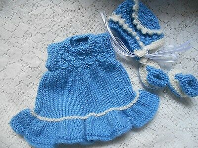 "Doll Clothes blue Hand-knitted dress set fit Heidi Ott 8"" Berenguer Lots Love"