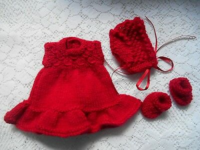 "Doll Clothes red Hand-knitted dress set fit Heidi Ott 8"" Berenguer Lots Love"