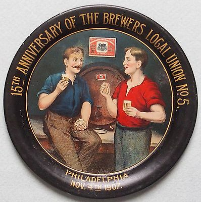 Great Piece Brewers Local Union #5 Advertising Tip Tray Great Graphics And Color